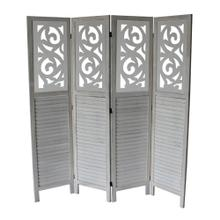 See Details - 7042 GRAY Rustic Shutter 4-Panel Room Divider