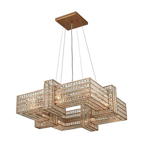 Lexicon 8-Light Chandelier in Matte Gold with Clear Crystal