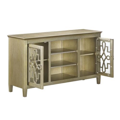 Art Deco 2 Door TV Console in Vermeil Gold