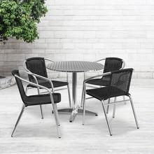 See Details - 31.5'' Round Aluminum Indoor-Outdoor Table Set with 4 Black Rattan Chairs
