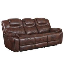 See Details - Power Dual Reclining Sofa - Brown Leather Gel (ZY5018A Collection)