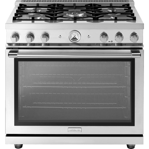 """Superiore - Range LA CUCINA 36"""" Panorama Stainless steel 5 gas, gas oven"""