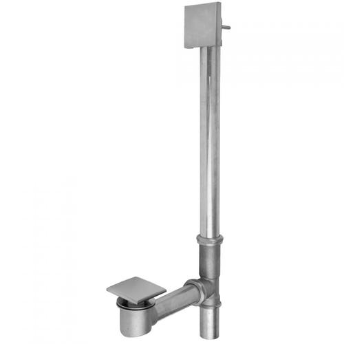 Polished Chrome - Brass Tub Drain Bottom Outlet Standard Toe Control with Faceplate (Square) Tub Waste