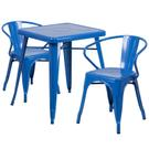 "Commercial Grade 23.75"" Square Blue Metal Indoor-Outdoor Table Set with 2 Arm Chairs Product Image"