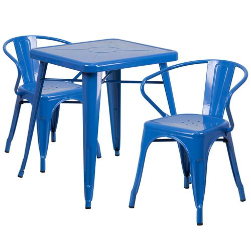 """Commercial Grade 23.75"""" Square Blue Metal Indoor-Outdoor Table Set with 2 Arm Chairs"""