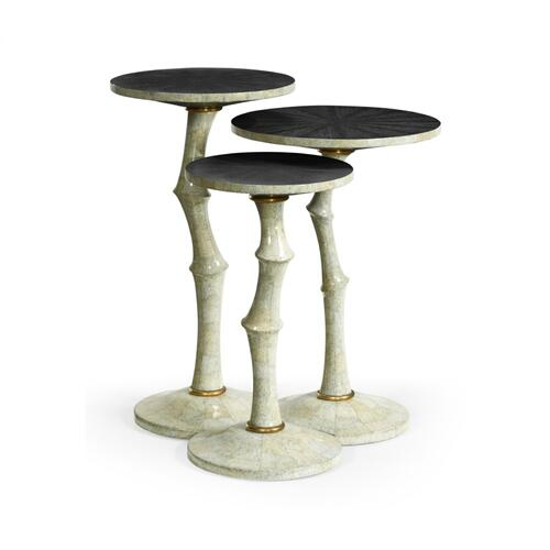Set of Three Bamboo Style Bone Eggshell & Cerused Oak Nesting Tables