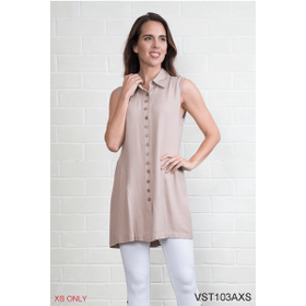 All Day Button Up Sleeveless Vest - XS (3 pc. ppk.)