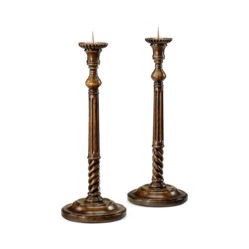 Pair of Tall Fluted Walnut Candlesticks