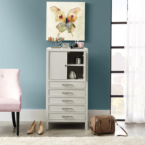 Modern Five Drawer Jewelry Armoire in Soft Gray