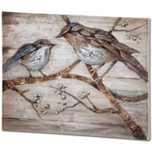 See Details - Ici 48x36 Momma & Baby Bird Original Hand Painted on Wood Oil Painting