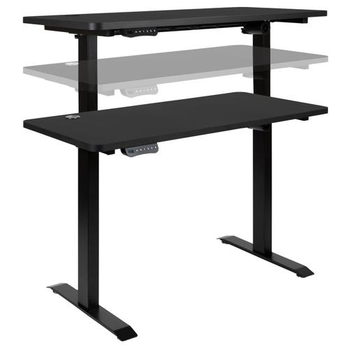 """Gallery - 48"""" Wide Black Electric Height Adjustable Standing Desk with Mid-Back Black LeatherSoft and Chrome Executive Swivel Office Chair"""
