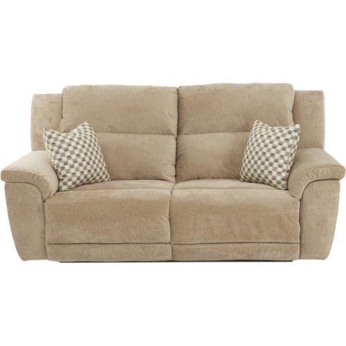 Power Reclining Sofa with Power Headrest and Lumber in Davy Cream Fabric