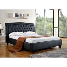 7519 BLACK PU Platform Bed - QUEEN