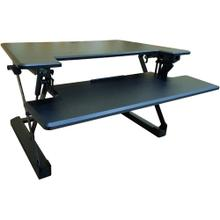 See Details - Hanover 35-In. Wide Black Tabletop Sit or Stand Lift Desk with Adjustable Height for Offices, Schools, and Writing Stations, HSD0402-BLK