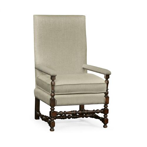 Italian Rich Chestnust Armchair, Upholstered in MAZO