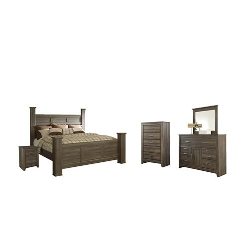 California King Poster Bed With Mirrored Dresser, Chest and Nightstand