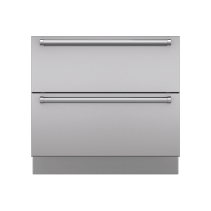 "Integrated Stainless Steel 36"" Drawer Panels with Pro Handles"