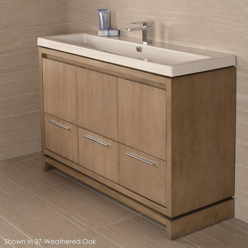 "Free-standing under-counter vanity with finger pulls across top doors and polished chrome pulls across bottom drawers, 46 3/4"" W, 17 5/8"" D, 33 1/4"" H."