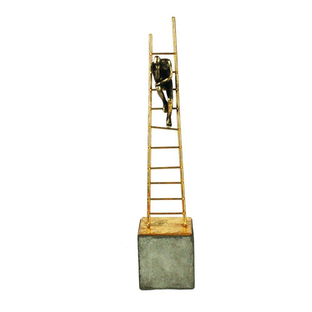 See Details - Gold Ladder Sculpture, Sitting Man