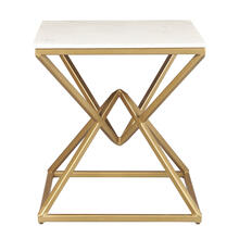 Geo Pyramid Stone and Metal End Table Top - Gold and White