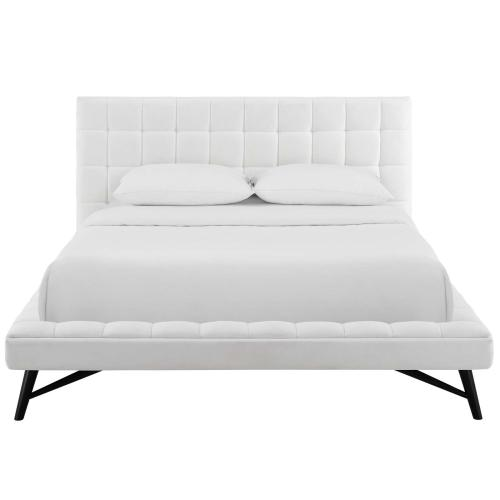 Julia Queen Biscuit Tufted Performance Velvet Platform Bed in White