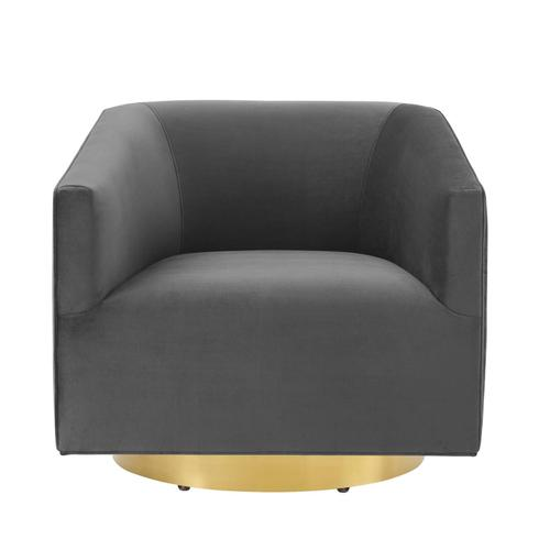 Modway - Twist Accent Lounge Performance Velvet Swivel Chair in Gold Charcoal