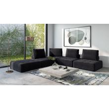 Divani Casa Nolden - Modern Black Fabric Sectional Sofa