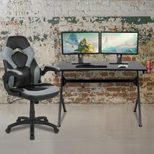 Black Gaming Desk and Gray\/Black Racing Chair Set with Cup Holder, Headphone Hook & 2 Wire Management Holes