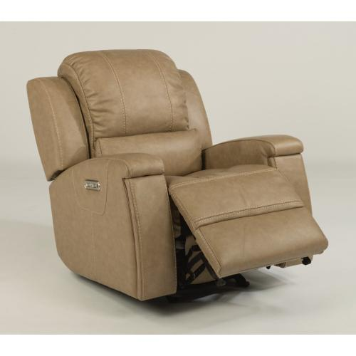 Oxford Leather Power Gliding Recliner with Power Headrest