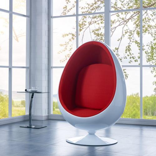 Clovis Cocoon Chair w/ Fabric Cushion and White Fiberglass Frame, Red/White