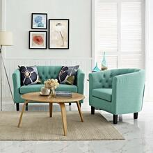 Prospect 2 Piece Upholstered Fabric Loveseat and Armchair Set in Laguna