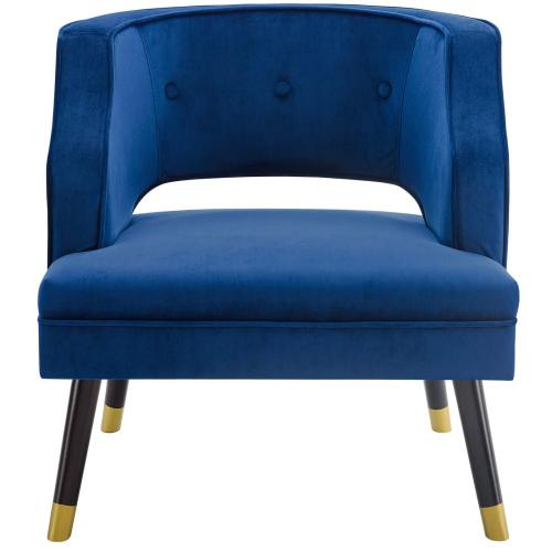 Modway - Traipse Button Tufted Open Back Performance Velvet Armchair in Navy