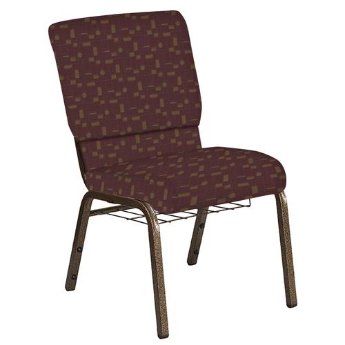 Flash Furniture - 18.5''W Church Chair in Circuit Merlot Fabric with Book Rack - Gold Vein Frame