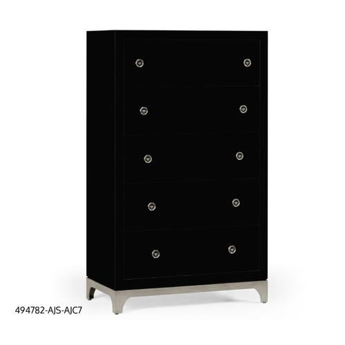 Tall chest with blazer buttons (Noir/Silver)