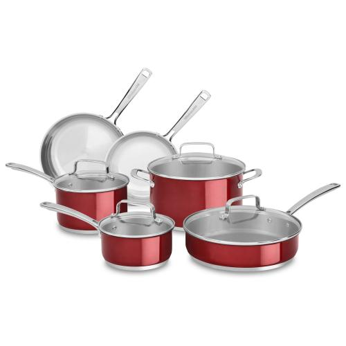 STAINLESS STEEL 10-PIECE SET - Candy Apple Red