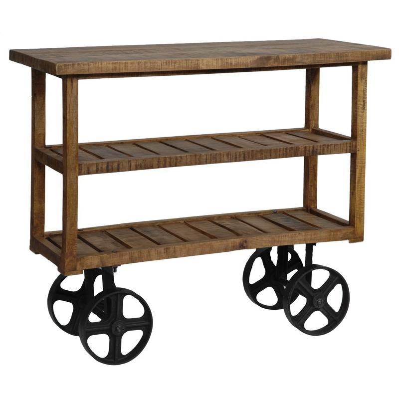 See Details - Bengal Manor Mango Wood Industrial Cart