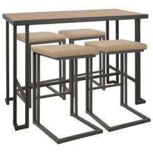 See Details - Roman Counter Set - Grey Metal, Bamboo, Camel Pu