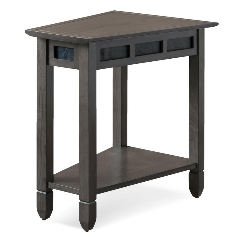 Smoke Grey Oak and Black Slate Recliner Wedge Table #10056-GR