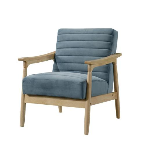 Horizontal Channeled Wood Frame Armchair