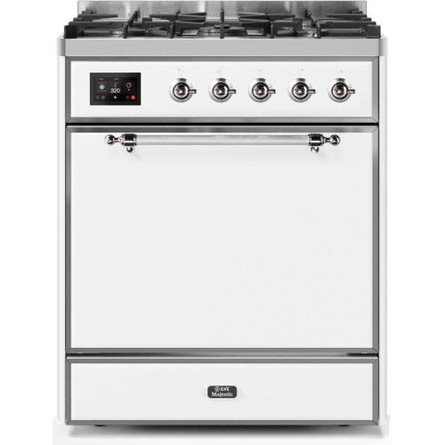 Ilve - Majestic II 30 Inch Dual Fuel Natural Gas Freestanding Range in White with Chrome Trim