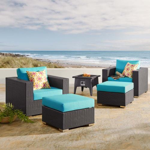 Convene 5 Piece Set Outdoor Patio with Fire Pit in Espresso Turquois