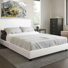 See Details - White Modern Platform Bed Upholstered Pu Leather Bed Solid Wooden Slats Support Twin Full Queen Wholesale