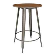 "30"" Gunmetal Grey Counter Height Table With Ash Wood Table"