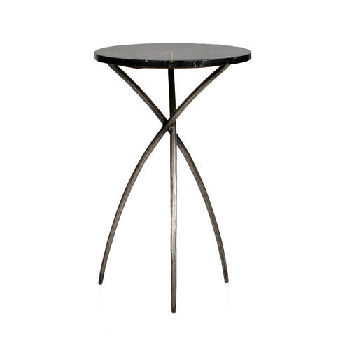 Iron Side Table w Marble Top & Brass Inlay