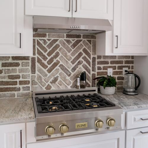 """Zline Kitchen and Bath - ZLINE Autograph Edition 30"""" Porcelain Rangetop with 4 Gas Burners in Stainless Steel with Accents (RTZ-30) [Accent: Champagne Bronze]"""