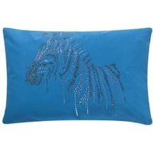 Sparkling Zebra Pillow - Paris Blue