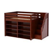See Details - Mid Loft w/ Staircase on End, 8 Shelf Bookcase & 4-1/2 Drawer Dresser : Full : Chestnut : Panel
