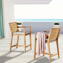 Portsmouth Outdoor Patio Karri Wood Bar Stool Set of 2 in Natural Taupe