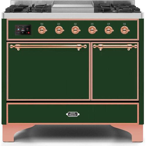 Majestic II 40 Inch Dual Fuel Liquid Propane Freestanding Range in Emerald Green with Copper Trim