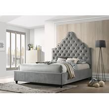 7576 Velvet Tufted Platform Bed - QUEEN